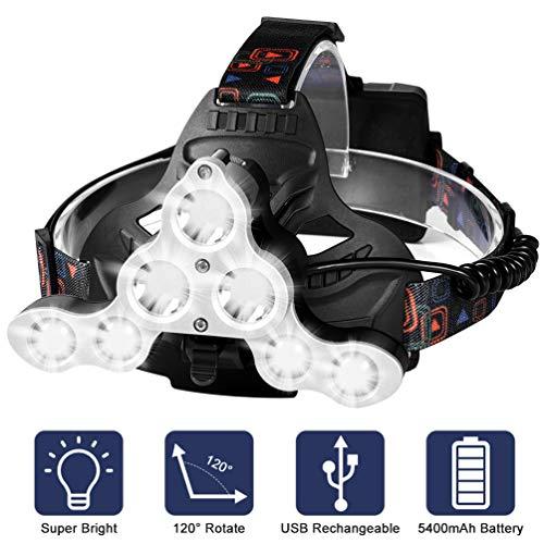 RUNACC USB Stirnlampe Beleuchtung Wiederaufladbare Scheinwerfer Headlamp 1700 Lumen 7 LED Taschenlampe Wasserdicht Kopflampe für Outdoor Camping Laufen Angeln
