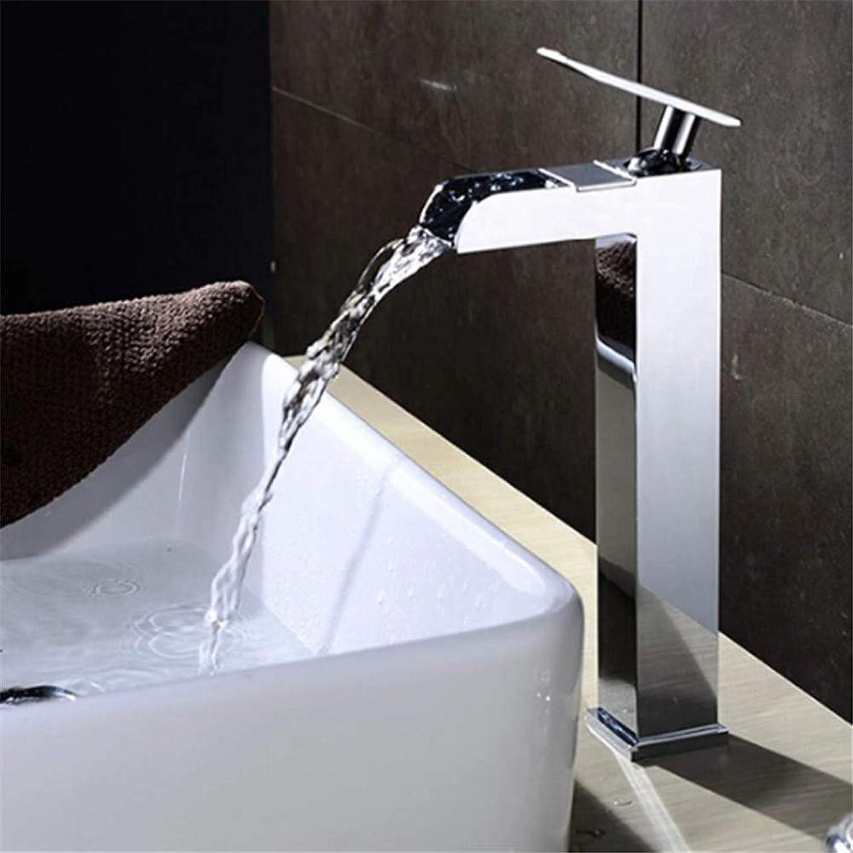 Einzigartiges modernes Design Chrom-Finish Luxus Wasserfall Wasserhahn Bad Einlochmontage Deck Waschbecken Wasserhahn Wasserfall Mischer Bad Waschbecken hohen Wasserhahn