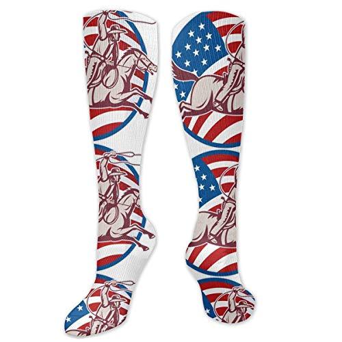 Jessicaie Shop Retro American Cowboy Swinging Lasso Socks para mujeres y hombres-Calcetines