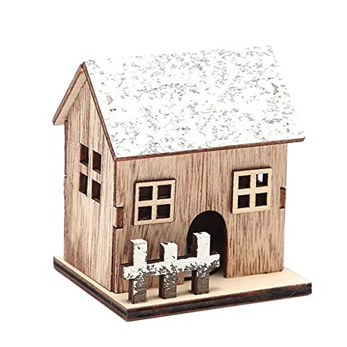 Gergxi Weihnachten Holzhaus, Weihnachtsstile Hütte Holzhaus Glitzer mit LED-Licht Heimdekoration Fee Nacht Lampe Anhänger Requisit Kerze Geschenk