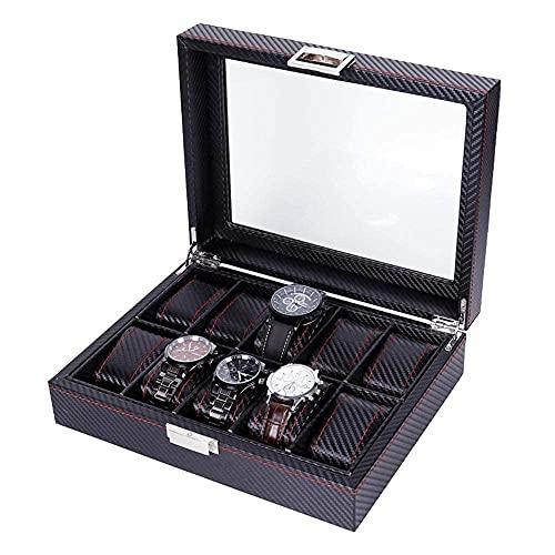 LHJCN Caja de joyería Caja de Almacenamiento de joyería Cuero de PU Fibra de Carbono Caja de Reloj de 10 bits Caja de exhibición de Almacenamiento de Pulsera de joyería
