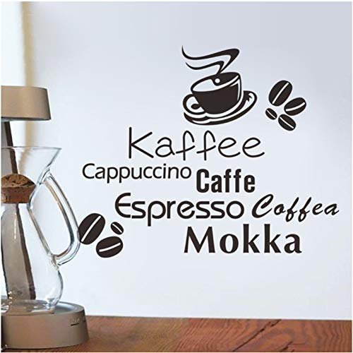 Köstliche Kaffeetasse Vinyl Zitat abnehmbare Wand Aufkleber DIY Wohnkultur Bäckerei Cafe Shop Küche Wandkunst 57 * 64cm