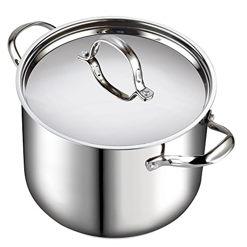 Classic Stainless Steel Stockpot with Lid, 12-QT, Silver