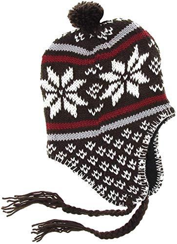 Marok-inie Peruanische Mütze Chullo Chullo Ch'ullu mit Bommel, Unisex Damen/Herren, Farben zur Auswahl Gr. One size, Braun 3