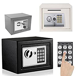Fireproof Digital Safe Box Home Safes Electronic, Anti-theft Cash Money Documents Security Deposit Box, Solid Steel with Full-digit Keypad, 2 Keys and 2 Bolts for Wall Mounting (4.6L, Black)