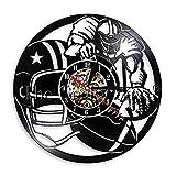 HFWYF 12 Pouces Joueur de Football américain éclairage Disque Vinyle Horloge Murale Moderne Applique Murale Casque de Rugby Balle de Rugby décoration de la Maison