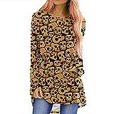 Shoplifemore Camiseta de manga larga para mujer, diseño de murciélago de calabaza, cuello redondo, informal, túnica, caqui, L