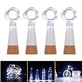 Luces LED para botella de corcho, alambre de cobre para botellas, recargable por USB, 15 luces de corcho LED para bricolaje, fiesta, Navidad, boda, 4 unidades (blanco frío)