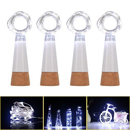 Dumcuw LED Luces para Botellas Recargable por USB, 15 luces corcho para botellas de led, impermeable corcho led luz en botellas para bricolaje, fiesta, Navidad, boda, 4 unidades (blanco frío)