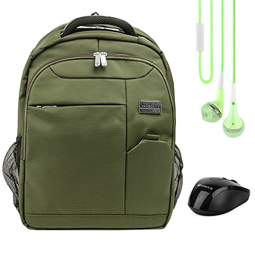 Germini 15.6 Inch Laptop Backpack Daypack For Acer Aspire, Chromebook 15, Asus Aspire E5, ROG, Razer Blade, Toshiba Satellite, Tecra Series 14 inch 15.6 inch Green with Earbud and Wireless Mouse