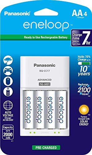 Panasonic K-KJ17MCA4BA Advanced Individual Cell Battery Charger Pack with 4 AA eneloop 2100 Cycle Rechargeable Batteries (Renewed)