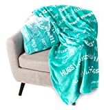 BlankieGram Hugs Throw Blanket Gift for Friends and Family with Inspirational Messages for Positive Energy, Compassion, and Serenity (Teal)