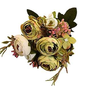 Silk Flower Arrangements JENPECH Artificial Flower,1Pc Artificial Flower Camellia Home Garden Wedding Party Furniture DIY Decor - Green