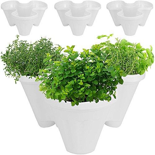 3 jardinières empilables triple pot - 9 plantes - Intérieur et extérieur - Balcon terrasse - Fleurs