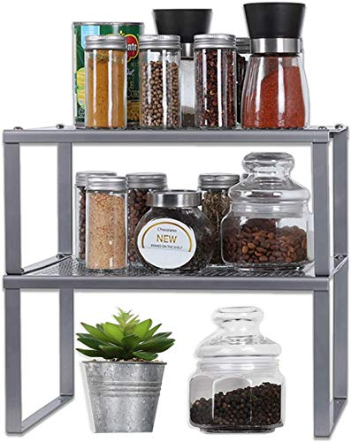 Shelf Insert,Kitchen Shelf Organizer for Cabinet Counter Cupboard Pantry, Stackable & Expandable,Silver