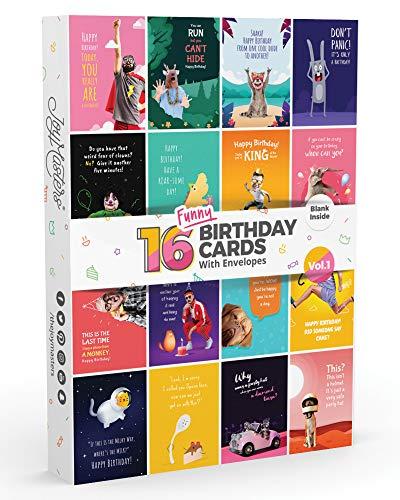 16 x Joy Masters™ LUSTIGE Geburtstagskarten 1. Auflage | Set von WITZIGE Glückwunschkarten für Geburtstag