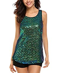 Green #1 Sleeveless Shimmer Camisole Vest Sequin Tank Top