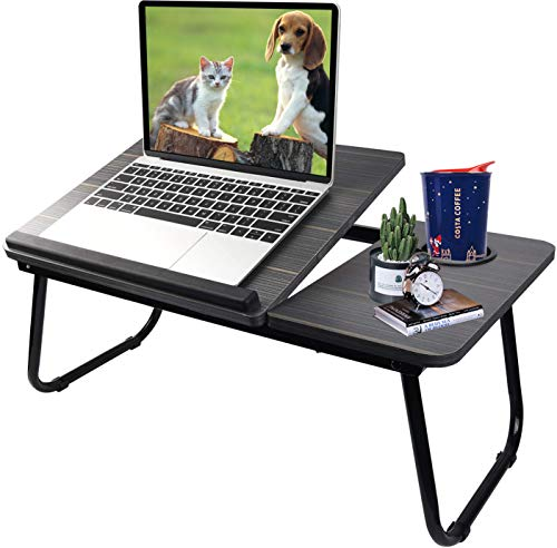 Laptop Desk for Bed,Asltoy Laptop Bed Tray Table,Foldable Lap Desk Stand Notebook Desk Adjustable Laptop Table for Bed Portable Notebook Bed Tray Lap Tablet with Cup Holder (Black)