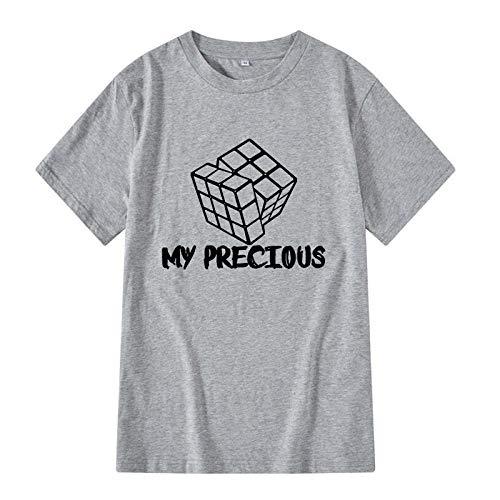 CHWEI Knitted Hat Camisetas Algodón De Moda Casual De Manga Corta Camiseta Divertida O-Cuello Tela Cómoda Estilo Callejero Hombres Mujeres Camiseta Impresión Mi Precioso Cubo De Rubik-D