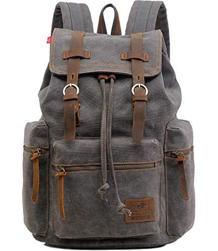 Vintage Canvas Leather Backpack HuaChen-AUGUR Hiking Daypacks Computers Laptop School Bag Shoulder Backpacks Unisex Casual Rucksack Satchel Bookbag Mountaineering Bag for Men Women (M32_Gray)