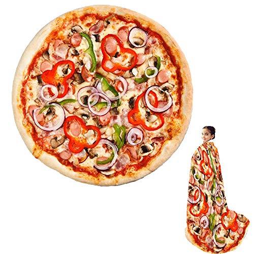 Wenosda Pizza Decke Burrito Tortilla Decken Runde Essen Decke Wickeln Strand Handtuch Teppich Teppich Picknick weich für Schlafzimmer Sofa Outdoor Vier Jahreszeiten (150cm / 60in) (Chili Stil)
