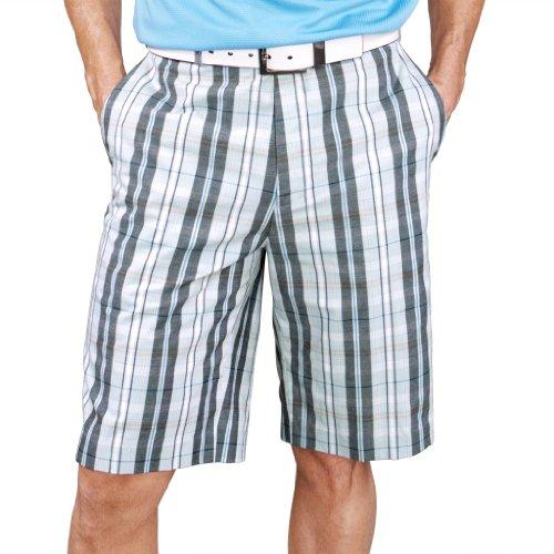 Monterey Club Men's Highland Plaid Golf Shorts #1847 (Sea Green/Black, Size:42)