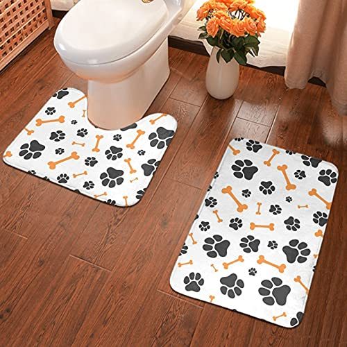 NiYoung Washable 2-Pack Banded and U-Shaped Bath Rugs & Mats, Best Softness and Absorbency for Home/Hotel Bathroom Shower (Animal Paw Steps Pet)