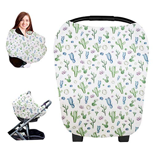Baby Car Seat Cover Canopy, Soft Nursing Cover Breastfeeding Scarf, Infant Stroller Cover for Boys and Girls by GFU (Cactus)