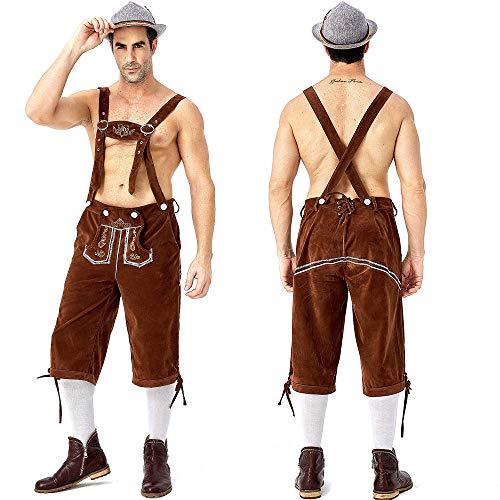 Yiwa Volwassenen De heer Oktoberfest Mannen Kostuum Borduurwerk Suspender Broek Plaid Shirts voor Cosplay Party Festival Bruin Suspender Broek, M