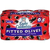 Early California 6 oz. Ripe Pitted Large Black Olives, 6-Cans