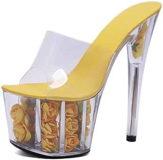 Platform Mules,Summer Peep Toe Sandals Women's Clear Perspex Stiletto Heel,Ladies Transparent Slingback Party Shoes Size