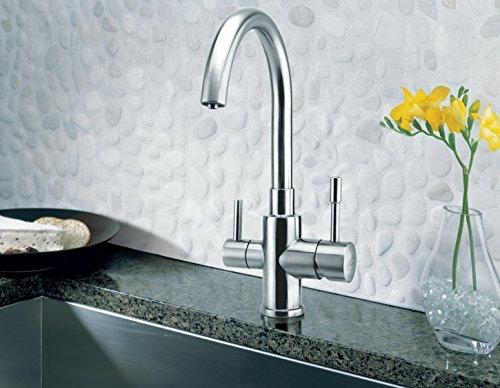 3-en-grifo de Palmira inox para agua fría, caliente y agua filtrada. Un elegante y de embarazo y lactancia completa de recambio para el filtro de agua. Diseño único y patentado! Fabricado en Italia!
