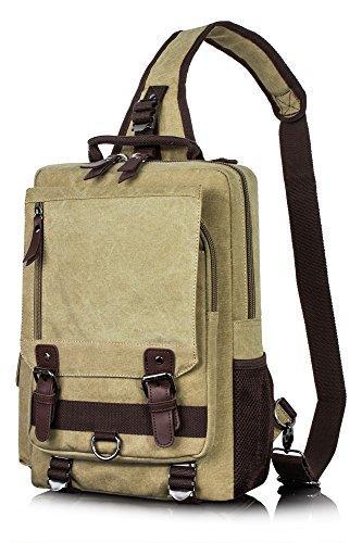 Messenger Satchel Canvas Bag for men, Cross Body Pack Shoulder Travel Sling Bag Khaki