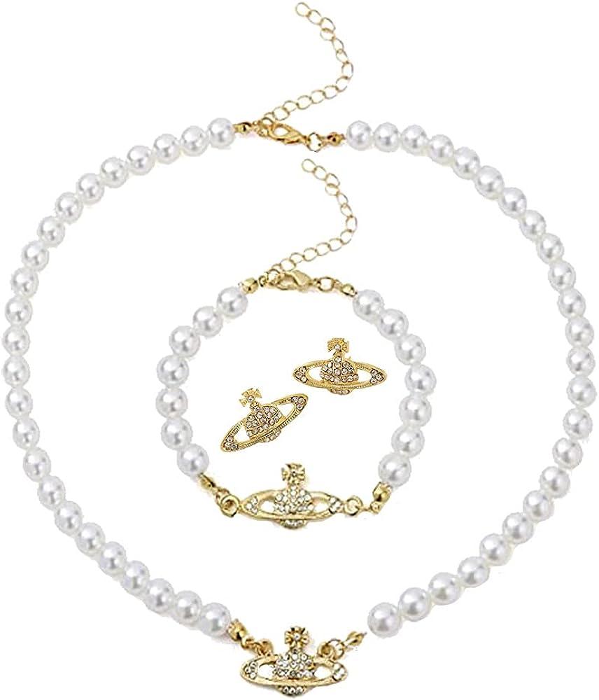 Modpide Saturn Faux Pearl Choker Necklace Y2K Necklace Bracelet Earrings Jewelry Set