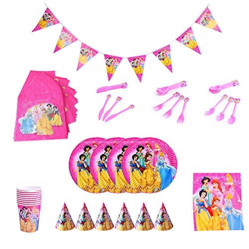 Princesas Cubiertos y platos Fiesta Princesas Disney Desechable Vajilla Taza Mantel para Niños Niña Baby Shower Boda