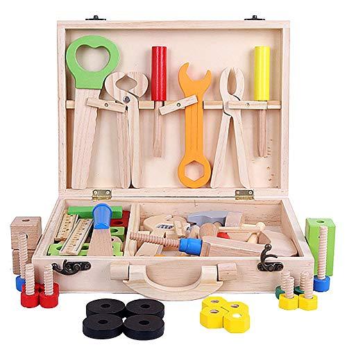 Falegnami - Juego de herramientas de madera para niños, juguetes educativos para hacer herramientas, juguetes de construcción sintética, juguetes portátiles de madera