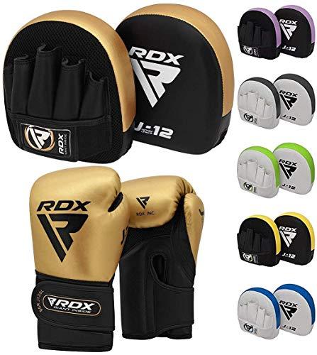 RDX Manoplas de Boxeo y Guantes Niño Muay Thai Entrenamiento Paos Saco Junior Kick Boxing MMA Almohadilla Artes Marciales Escudo Patada Kids Gancho y Jab Pad Focus Pads