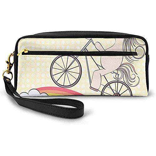Polka Dot Background with Hand Drawn Magical Animal Riding Bicycle on Rainbow Small Makeup Bag Pencil Case 20cm * 5.5cm * 8.5cm