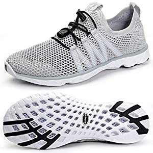 SUOKENI Women's Quick Drying Slip On Water Shoes for Beach or Water Sports LightGray,Size:US 8.5/EU 39