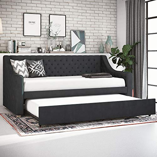 CosmoLiving Nolita Upholstered Daybed and Trundle - Twin - Gray
