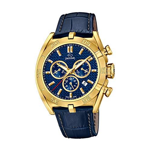 JAGUAR J858/2 Executive Collection Armbanduhr, 45,8 mm, blaues Lederarmband, für Herren