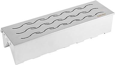 Onlyfire FPA-5114 Caja De Ahumar De Acero Inoxidable en forma de VV para Gas, Carbón Y Leña, Fácil de Abrir con Hinged