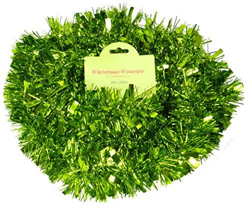 Christmas Concepts® Weihnachtliches Lametta 2m verschiedene Farben dick/dünn weihnachtliche Dekoration–Hohe Qualität lindgrün