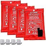 JJ CARE Fire Blanket Fire Suppression Blanket 40'x40' +4 Hooks, Fire Blanket Kitchen, Emergency Fire Blanket, Fire Retardant Blankets, Fiberglass, Fire Safety Blanket for Camping-Kitchen-Car Emergency