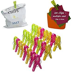 Customer reviews Food Bag Clips Kitchen 24-Pack Plastic Quality Reusable Colourful Sealing Clips for Storage Freezer Fridge Multi Purpose Bag Sealer Pegs for Food Laundry Office. Keep food fresh.