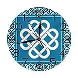 Reloj de Pared Redondo Decorativo, Nudo de Amor Celta Buena Fortuna símbolo Marco Frontera histórico Amuleto diseño Tema