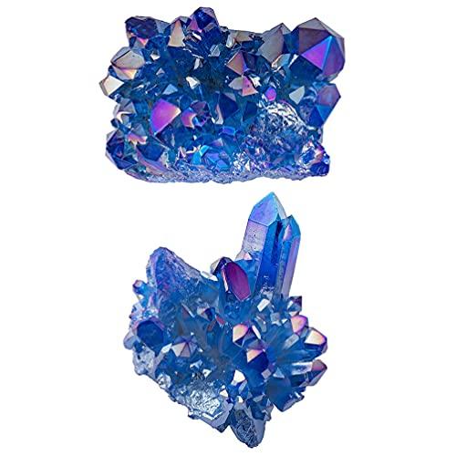 WINOMO 2Pcs Blue Crystal Cluster Cluster Azul Celestite Cristal Sparkling de Cristal Natural Celestite Aliados Pedra Irregular de Decoração Para Casa