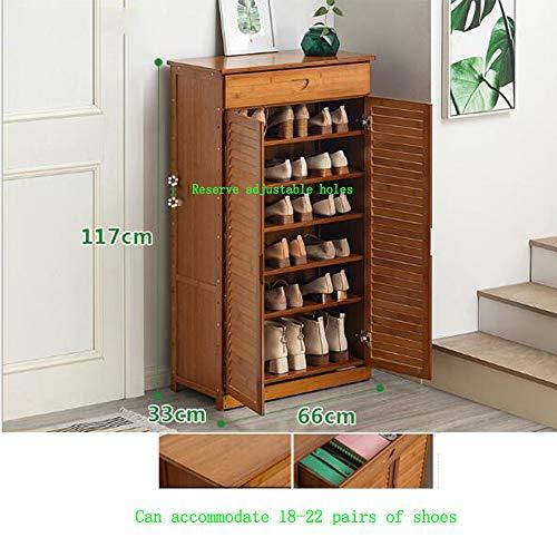 AA100 Mehrschichtige montierte zweitürige Reine Bambus-Fensterläden Schuhschrank Korridor Bad Schließfach einstellbar (66 * 33 * 117cm),Withdrawer