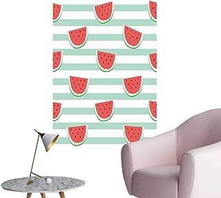 SeptSonne Modern Decor re Watermelon Slice Design on Stripe Blue backgroun Wallpaper Backdrop Ideal Kids Decor or Adults,24