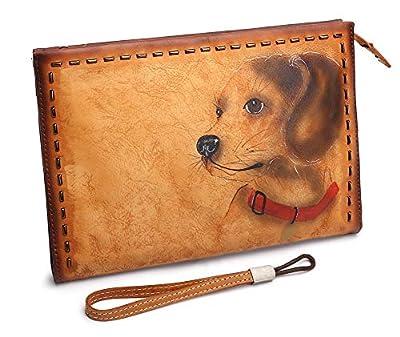 Genuine Leather Handbag for Men Checkbook Wallet Vintage Handmade Wristlets Clutch Bag
